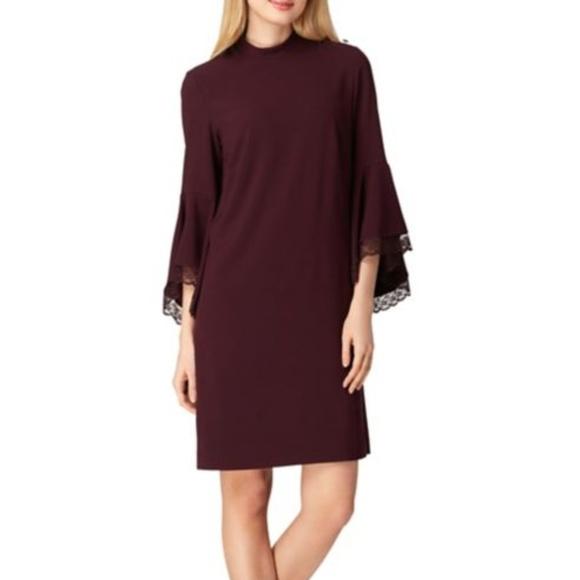 Tahari Dresses & Skirts - NWT Tahari ASL Purple Lace Bell Sleeve Shift Dress